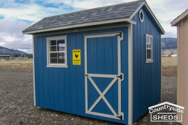 blue roof shed ideas