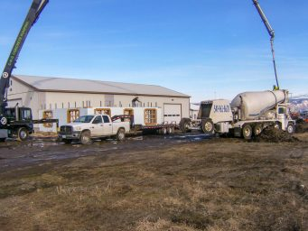 concrete floors poured on new shed shop office