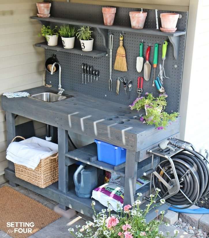 cstom potting garden storage bench