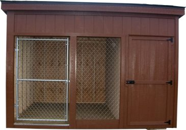 brown lean to with enclosed storage dog kennels